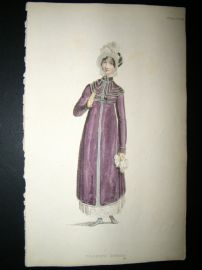Ackermann 1814 Hand Col Regency Fashion Print. Walking Dress 12-30